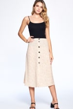 Button Front Ankle Length Skirt - Taupe - Front