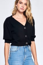 Button Front Short Sleeve Sweater - 1