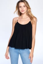 Bead Strap Flow Top - Black - Front