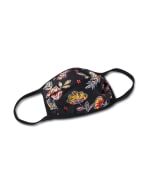 Batik Floral Fashion Mask - Navy - Front