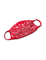 Red Paisley Fashion Mask - Red - Front
