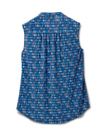 Mixed Geo Sleeveless Knit Popover - Navy/Blue - Back