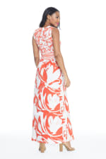 V-Neck Large Floral Maxi Sundress - Orange - Back