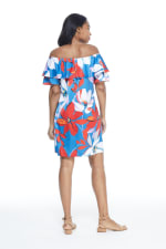 Large Floral Short Sundress - Red/Blue - Back