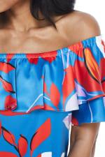 Large Floral Short Sundress - Red/Blue - Detail