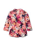 Multi Color Floral Knit Popover - Navy/Pink - Back