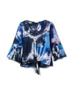 V-Neck Tie Dye Tie Front Knit Top - Misses - 1