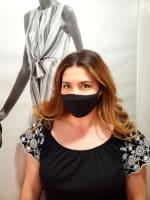 Men/ Women /Children Contoured Washable Cotton Face Masks - Black - Back