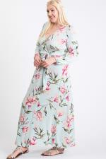 Twirl-In Maxi Wrap Dress - Mint - Front