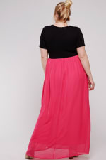 Maxi Dress With Short Sleeve - Plus - Black / Watermelon - Back