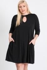 3/4 Sleeve Dress With Side Pockets - Plus - 2