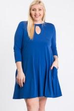 3/4 Sleeve Dress With Side Pockets - Plus - Royal - Back