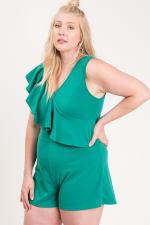 Ruffle Sleeveless Romper - Green - Back