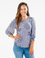 3/4 Sleeve Patchwork Puff Sleeve Top - Navy - Front