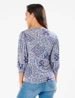 3/4 Sleeve Patchwork Puff Sleeve Top - Navy - Back
