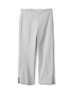 Superstretch Pull On Capri Pant With Tabs And Grommet Trim Hem Detail - White - Front