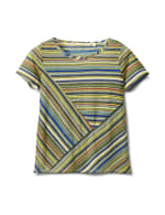 Textured Mixed Direction Stripe - Blue/Green - Front