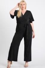 V-Neckline Short Sleeve Jumpsuit - Plus - 2