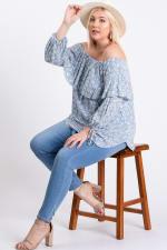 Comfy Off-Shoulder Blouse - Blue - Front