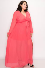 To Wow Maxi Dress - Coral - Front