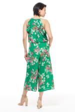 Meadow Halter Ruffle Sleeve Jumpsuit - Green/Multi - Back