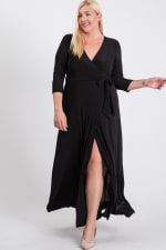 Ruffled With Love Wrap Maxi Dressd - Black - Front