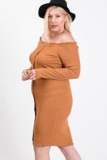 Casual Elegance Button Down Dress - Pumpkin - Back
