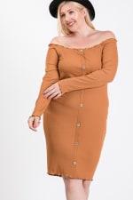 Casual Elegance Button Down Dress - Pumpkin - Front