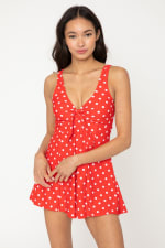 Rouched Front Flowy Skirted Swimsuit - Red/White - Front