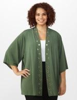 Roz & Ali Novelty Sleeve Grommet Cardigan - Olive - Front
