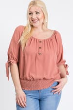 Simply Cute Off-Shoulder x Smocking Top - Terracotta - Front