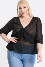 Show Off Dotted Blouse - Black - Front
