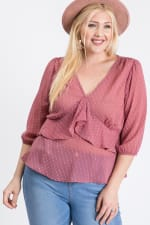 Show Off Dotted Blouse - Mauve - Front