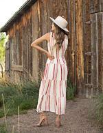 Stripe Smock Waist Maxi Dress - Ivory/Rust - Back