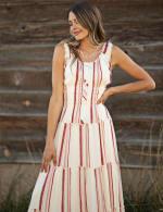 Stripe Smock Waist Maxi Dress - Ivory/Rust - Detail