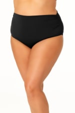 Anne Cole® Live in Color Hi Waist Shirred Swimsuit Bottom - Plus - Black - Front