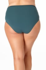 Anne Cole® Live in Color Hi Waist Shirred Swimsuit Bottom - Eucalyptus - Back