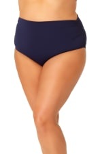 Anne Cole® Live in Color Hi Waist Shirred Swimsuit Bottom - Plus - Navy - Front