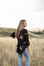 Long Sleeve Dusty Rose Embroidered Blouse - Black/Dusty Rose - Back