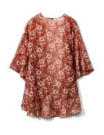 Floral Chiffon Flounce Hem Woven Kimono - Brick - Back