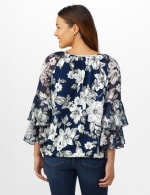 Novelty Sleeve Floral Print Knit Top - Navy/Ivory/Gray - Back