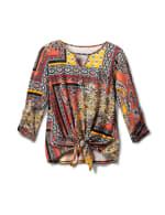 Patchwork Keyhole Tie Front Knit Top - Misses - Terracotta - Front