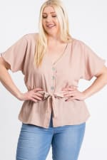 Waist Band With Front Ribbon Top - Khaki - Front