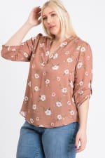 V-Neck Floral Top - Mauve - Back