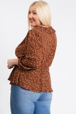 Business Or Pleasure Floral Wrap Top - Rust - Back