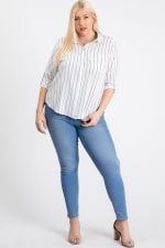 Multi-Use Stripped Top - White - Front