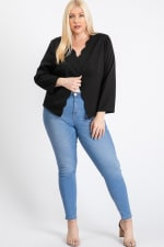 Mind My Business Scallop Jacket - Black - Front