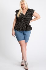 Flower Power Wrap Top - Black - Front