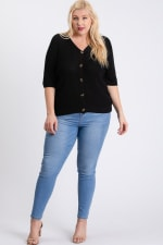 V-Neck Sweater - Black - Front