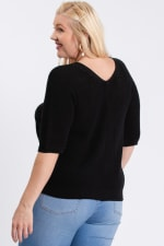 V-Neck Sweater - Black - Back